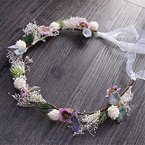 WDDZY® Garland Bohemia Handgemachte Blumen Crown Hochzeit Kranz Braut Kopfschmuck Stirnband Haar Band Zubehör für Mädchen (Arabischen Tracht)