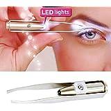 Oplon 1 pièce Outil de maquillage d'épilation de pinces de sourcil de cil de lumière d'acier inoxydable LED Palettes de maquillage