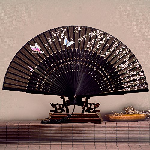 Handfächer,Sommer Chinesischen Stil Frauen Bambus Fan Schwarzen Hintergrund Hohlpflanze Weiße Blume Schmetterling Vintage Seide Fan Geeignet Für Hochzeit Dame Geschenk Tanz Fan U-Bahn Faltfächer (Tanz Mit Schwarzen Und Weißen Kostüm)