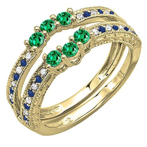 DazzlingRock Collection  -  14 Kt  Gelbgold Rundschliff   blau I-J grün Diamant Saphir Émeraude  - Diamond Wrap Guard