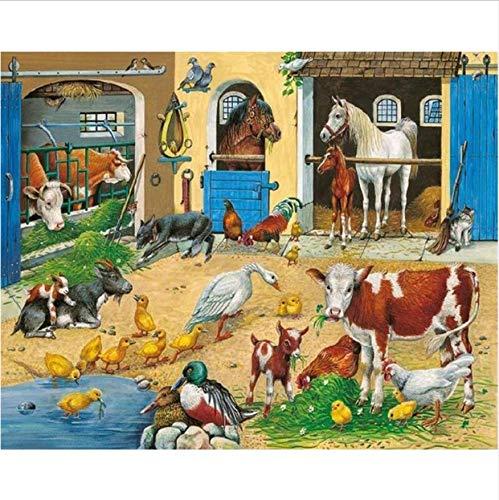 broidery,Cow Animals Farm Photo Custom,Diamond Painting,Cross Stitch,3D,Diamond Mosaic,Decor 40X50CM ()