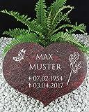 Grabstein Urnenstein Herz inkl. Inschrift 40x30x7 cm Material: Romantic Red