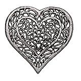 Comfify Untersetzer in Herzform aus Gusseisen -Dekorativer Herztuntersetzer aus Gusseisen für Küche oder Esstisch - Vintage, rustikales Design - 6.75X6.5