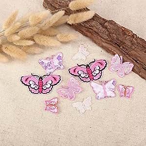 20 x Tissu Motifs Papillon rose, repasser à coller sur Sew on Patch brodé