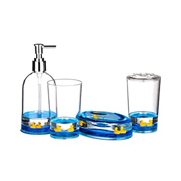 4pc bathroom accessories set floating ducks design acrylic finish amazoncouk kitchen home