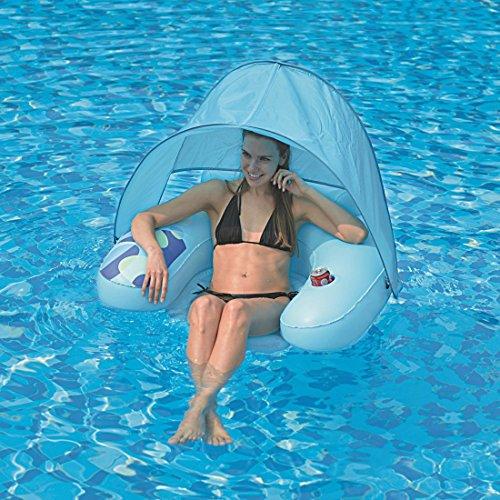 Jilong Water Sofa Canopy 103x96x38 cm Poolsessel mit Sonnenschutz-Dach und Getränkehalter Schwimmsessel Pool Lounge Wassersofa Wassersessel Luftmatratze Badeinsel, Süßwasser & Salzwasser geeignet - 2