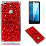 Funda para Huawei P10 Lite de Silicona y Protector de Pantalla ,OYIME Carcasa Purpurina Brillante Original Resistente Fina Suave Transparente TPU Gel Protección para Huawei P10 Lite - Rojo