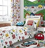 Cartoon Autos Busse Vans Rot Blau Weiss Baumwollmischung Einzelbett Bettbezug & Passendes Leintuch