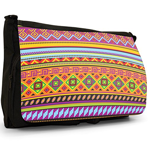 Messicano Azteco Tribale modelli tradizionali–Borsa Tracolla Tela Nera Grande Scuola/Borsa Per Laptop Orange Purple Yellow Geometric