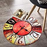 BCCXX Runder Teppich Kreative Uhr Rutschfeste Matten Nachttischdecke,100 * 100 cm,A