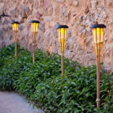 Conjunto de 2 antorchas LED solares de jardín de bambú de 58 cm de Lights4fun