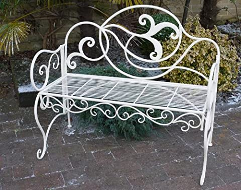 French Country METAL GARDEN BENCH SHABBY CHIC ornate Long bench Vintage 146cm 3 seater STURDY -antique