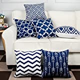 #2: Modern Homes 100% Cotton Navy Blue Designer Decorative Throw Pillow/Cushion Covers (Set of 6 with Zip) - 16 x 16 inch/40 x 40 cm