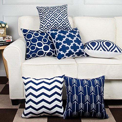Modern Homes 100% Cotton Navy Blue Designer Decorative Throw Pillow / Cushion...