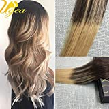 Ugea 20pcs/50g Two Tone Tape in Hair Extensions Darkest Brown to Golden Blonde Hightlights Skin Weft Human Hair Extension 18 Inches
