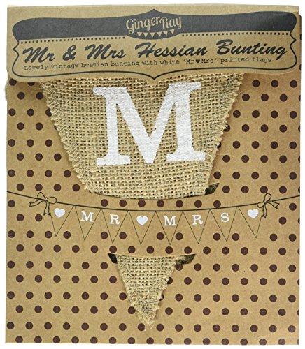 Ginger Ray Vintage Affäre Mr. & Mrs. aus Sackleinen Jute Wimpelkette Hochzeit oder Party Dekoration Banner, braun