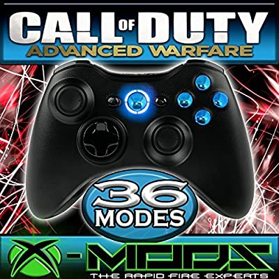 Xbox 360 Rapidfire Controller - Chrome Blue Buttons - BEST MOD ON AMAZON!! Jumpshot - Dropshot - Jitter - all the best modes!! CoD - Battlefield - Mod - Custom