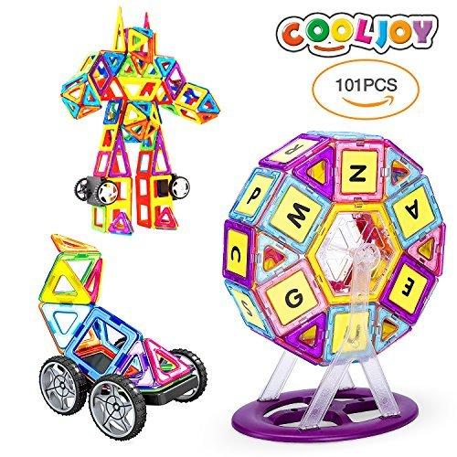 Magnetische Bausteine,101 Stück Magnetische Bauklötze Set Spielzeug Set für Kinder, Autos,...