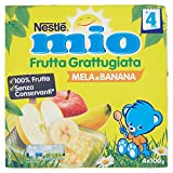 Nestlé Mio Frutta grattugiata Mela e Banana da 4 Mesi, senza Glutine, Confezione da 4x100 gr, Totale: 400 gr - [confezione da 6]