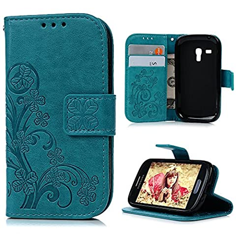 S3 Mini Case ,Galaxy S3 Mini Cover - Lanveni Four Leaf Clover Embossed Retro Premium PU Leather Magnetic Flip Wallet Cover with Detachable Hand Strap & Card Slots & Stand Function for Samsung Galaxy S3 Mini i8190 ( Not for Galaxy S3 ) , Teal
