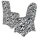 Stuhlhussen Stretch ZEBRA bedruckt bügelfrei Stuhlbezug Spandex
