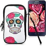 """kwmobile Funda de neopreno para móvil para smartphones M - 5,5"""" - Funda para smartphone carcasa protectora con Diseño Sugar skull calavera multicolor blanco"""