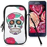 kwmobile Housse pour téléphone en néoprène Sleeve pour Smartphones M - 5,5' - Sacoche pour Smartphone Housse de Protection étui pour Design Sugar Skull