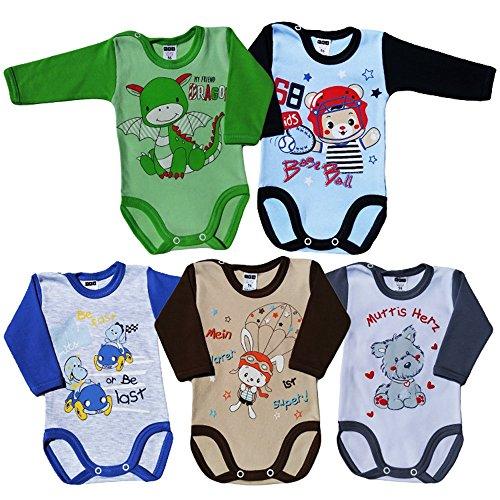 MEA BABY Unisex Baby Langarm Body aus 100% Baumwolle im 5er Pack, Baby Langarm Body mit Aufdruck, Baby Langarm Body für Mädchen, Baby Langarm Body für Jungen. (92, Jungen)
