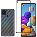 shopeeq screen guard for samsung galaxy a21s tempered glass edge to edge full screen coverage edge to edge protection black -