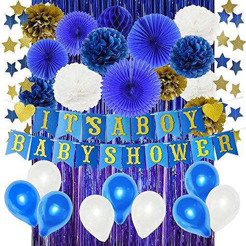 Shower Dekorationen für Junge Filz Es ist Ein Junge Baby Dusche Banner Blaue Folie Vorhänge Papier Fans Tissue Pom Poms blau Gold Papier Star Garland Latex Balloons ()