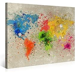 Premium Weltkarte Leinwanddruck 100x75 cm – World Map Aquarell Explosion – XXL Kunstdruck auf Leinwand auf 2 cm Holz-Keilrahmen – Handgemachte Fotoleinwand in Deutsche Markenqualität für Schlaf- Und Wohnzimmer von Gallery of innovative Art