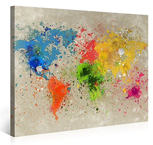 Gallery of Innovative Art – Mappa Del Mondo Acqua Colore Explosion – 100x75cm – Larga stampa su tela per decorazione murale – Immagine su tela su telaio in legno – Arazzo decorazione murale