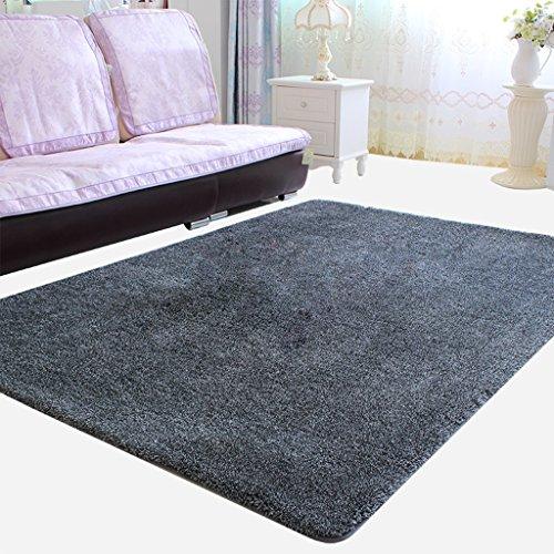 Mjb rectangulaire Noir Doux Shaggy Zone Tapis, Tapis de Couleur Solide bébé au Chaud, pour Le Salon/Chambre à Coucher, 100 * 120cm-grey