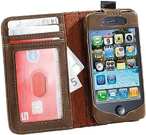 Xcase iPhone-4-Schutzcase: Edle Kunstleder-Schutzhülle im Buch-Design für iPhone 4/4s, braun (Handy-Schutz-Taschen für iPhones)