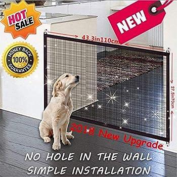 Magic Gate Pet Dog Safe Guard, Barrière de Sécurité Chien, Portable Pliable Installer n'importe Où, Animal Domestique Rétractable Barrières pour Escalier Cuisine, 110 x 72cm (Noir, New)