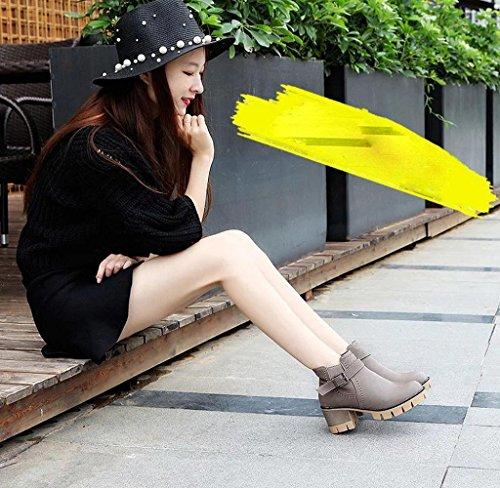 Covermason Damen Schuhen mit hohen Absätzen Martin Stiefel Grau