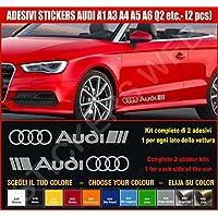 Kit adesivi stickers AUDI A1 A3 A4 A5 A6 Q2 ecc. -2 adesivi tuning auto- SCEGLI SUBITO COLORE- car kit n.2 Cod.0502 (Grigio Medio cod. 074)