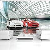 FORWALL Fototapete Tapete Luxuriöse Autos Ausstellung P4 (254cm. x 184cm.) Photo Wallpaper Mural AMF1926P4 Gratis Wandaufkleber Rot Weiss Wagen Autos Sport Renne Bau Transport