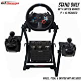 GT Omega Steering Wheel Stand PRO for Logitech G29 G920 Thrustmaster T500 T300 TX & TH8A Shifter Mount V2 - PS4 Xbox Fanatec Clubsport - Tilt-Adjustable Design for Ultimate Sim Racing Experience