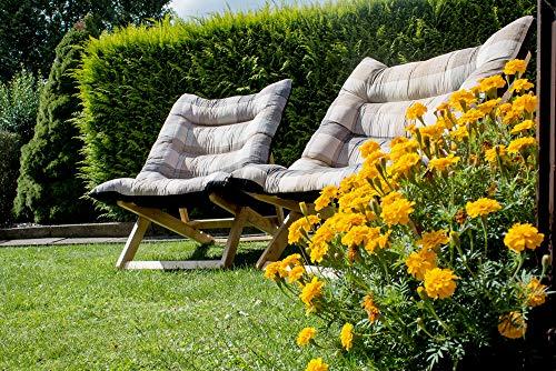 Chaise Longue Fauteuil - également en Version XXL - Stable Chaise Longue Transat avec Chaise Haute Siège et Confort 132x75x40 cm Naturel