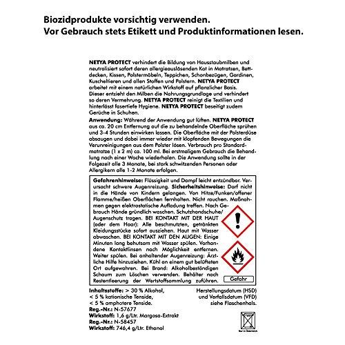 NETYA PROTECT 750 ml (4140) --- Hygienespray Anti-Milbenspray Hausstaubmilben-Spray Matratzenspray Bettdecken Kissen Polstermöbel Teppich Gardinen Kuscheltieren -- ABACUS - Bild 2