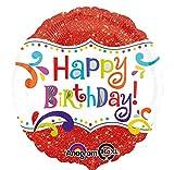 Amscan - Globo Brillante de cumpleaños con diseño de Happy Birthday