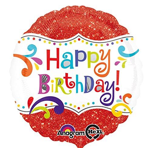 amscan Glitzer Happy Birthday Folienballon Folie Mehrfarbig
