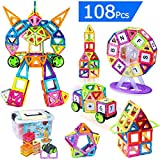AUGYMER Magnetic Building Blocks, 108 Pieces Building Construction Toy Stacking Toys Ferris Wheel Building Set, Instruction Booklet and Storage Box Included, Creative and Educational Gift for Kids