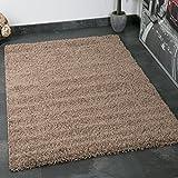 VIMODA Prime Shaggy Teppich Hochflor Langflor Teppiche Modern für Wohnzimmer Schlafzimmer Einfarbig Nougat Hellbraun 70x140 cm