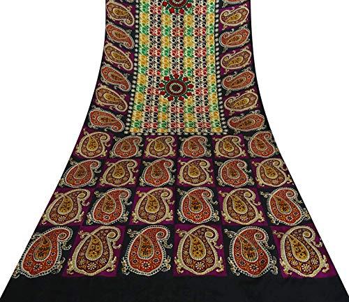 Sari Aus Reiner Seide (Vintage Indian Sari Paisley Printed Craft Stoff Aus Reiner Seide Mehrfarbengroß- Saree)