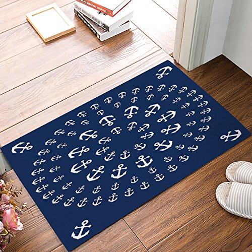 Maritim Anker Mandala zentable Fußmatten Eingang Vorne Tür Teppich Outdoor/Indoor-/Badezimmer/Küche/Schlafzimmer/Diele Fußmatten , Rutschfest Gummi, Low-Profile 18 x 30 Marineblau