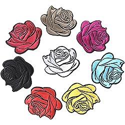 Huixun 8pezzi colorati misti rose Flower patch toppa da cucire o per vestiti ricamato Appliques DIY Accessory bag badge