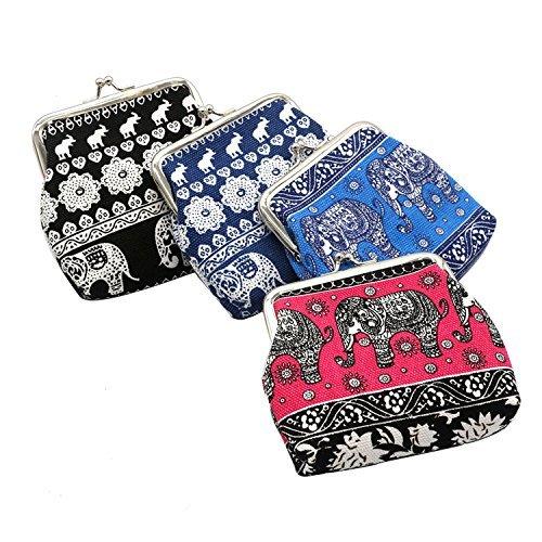 Oyachic 4 Pack Monedero Cierre de Cierre Bolso Embrague Bolso Pequeño Dinero para Mujeres y Niñas (patrón de Elefante)