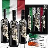 100% Bella Italien 3er Rotwein Geschenkset L'uva Bella Weingeschenk mit Landesfarben Italia aus Toskana Luxus wie Barolo Brunello
